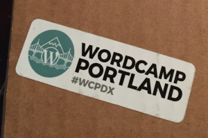 StickerGiant WordCamp PDX 2015 Sticker on Box.