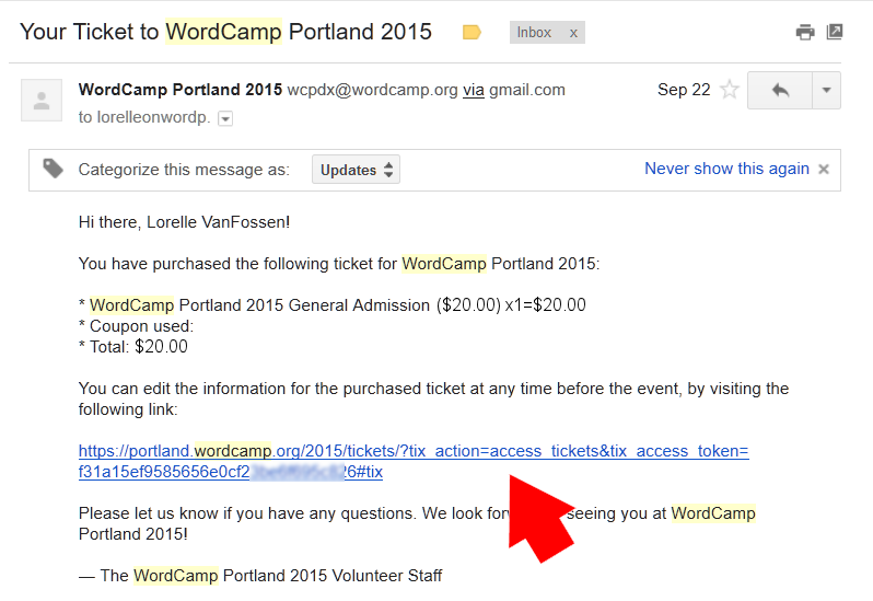 WordCamp PDX 2015 - Email Confirmation with Edit Link to Make Changes.